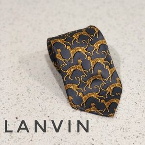 Lanvin Paris Charcoal Grey Leopard Print Silk Tie